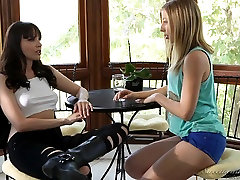 Horny blonde does a russian institute autdoor camping to a lesbian brunette