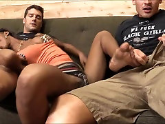 Sexy black girl Marie Luv anal creampied and sucking cock