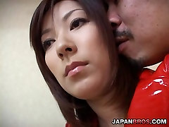 Japanese cute displaying and caressing her camel toe pussy
