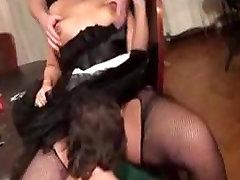 Plump maid threesome