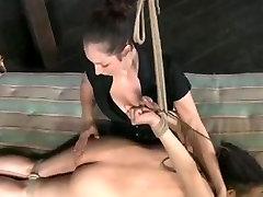 Beautiful big booty brunette in BDSM scene