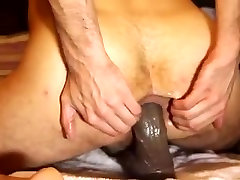 Again My Young Ass Against Big Black Dildo