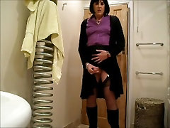 Bathroom Bang for Amazing Saggy Boobs with Hairy Pussy