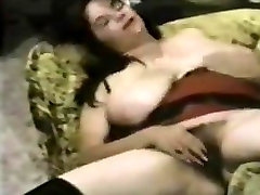 Retro Busty Hairy Woman Plays With Toy
