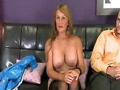 Lady in stockings gets junior hard cock