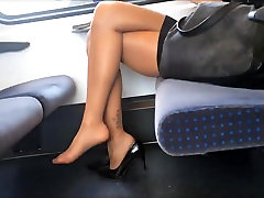 Amazing legs soles in nylons footplay dangle