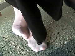 Candid jinilin video Nylon Feet at College Library with Face
