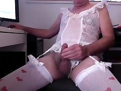 Crossdressed jerking in lingerie