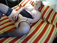Chubby son invite mom sleep in Stockings