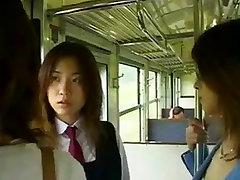 Two Asian Lesbians Seduce a Straight Girl
