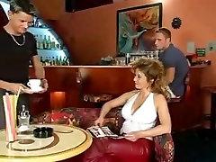 Big tit cameron canela gangbang has threesome on a bar