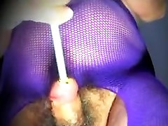 Crossdresser trans cock sounding urethral toy pantyhose