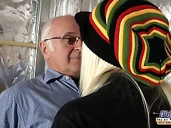 Appealing blonde girl fucks 70 years old man in in a cowgirl position