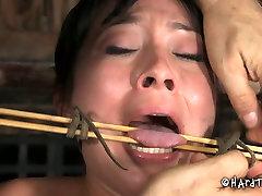 Perverted dude punishes nasty jade artgroovy chick with black sex toy