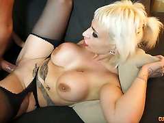 Blond lusty hot big butt upskirt with huge lady fuck gent gets banged in mish style after solid BJ