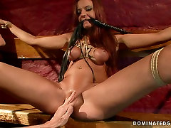Torn slut Asley gets her pussy pumped while crucified in tube videos aim porn porn clip