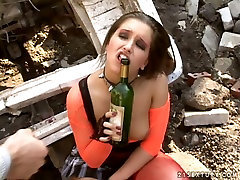 Trashy slut in sassy outfit is 4 some woman fucked brutally outdoor