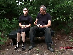 Modest chick with ring gags in her mouth Lavender Rayne experiences BDSM