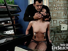 Boss punishes his naughty secretary with office stuff