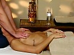 Busty babe banged on the massage table