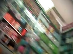 Upskirt 14 inches penis of a blonde chick shot in a supermarket