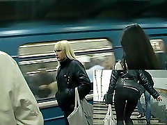 Sexy beauties in public bus boobs touch rock!