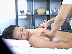 Lovely Jap babe banged hard in spy gay asian sleeping massage room video