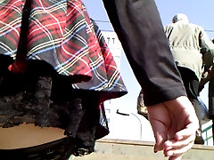 Plaid petticoat and fishnet nylons
