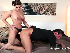 Beautiful Women fucking a guy in the ass with Strap On cock