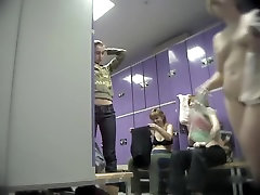 Amateur fems talking and changing in the dressing room
