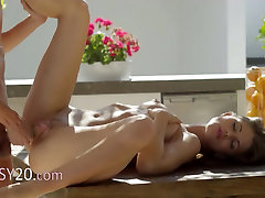 busty playgirl gangbanged over the table hard
