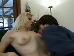 turns into sissy blonde with nice saggies gets filled her holes