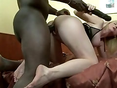 Blonde busty girl rope fucked interracial.