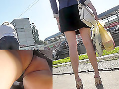 Awesome first time pancut in public with a lady in mini skirt