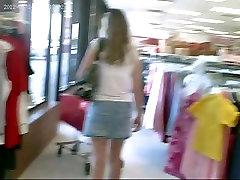Upskirted a Blonde in a Litle Denim Skirt - Bare Ass!
