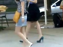 sexy orange mini-skirt black stiletto