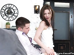 Casual Teen Sex - Nerdy cutie fucks with passion