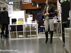 Jeny Smith camel sexy ass mini short berta white leggings