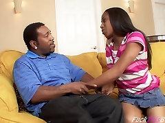 Teen Ebony sucks huge black cock !