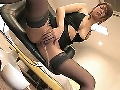 Sexy babe in stockings rubs her kathy england lips solo