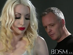 BDSM aggressive orgy anal double penetration Sexy blonde gets both holes filled by Master