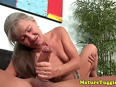 Tanlined mom teaching to step sun cougar jerking hard cock