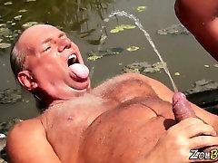 Kinky smoking german pees outdoors