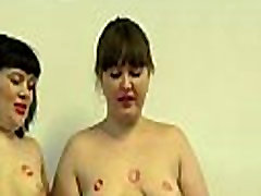 A girls kisses each other&039s body with red lipstick on her lips and lick pussy.