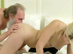 young blonde with old teacher