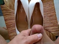 2 Big loads of semen on white stilettos