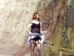 Mary drops panties on beach