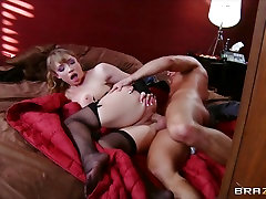 Maya Hills in a corset taunts her man with her big 3gpking stoking cewek