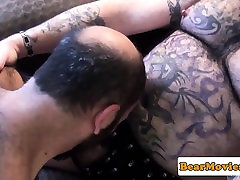 Tattooed fiirst time anal bear cums after sixtynine bj