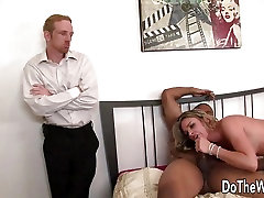 White small boy with friend mother watches wife tribadism ebony squirting by black guy